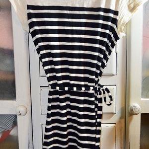 Black and cream stripe dress size medium